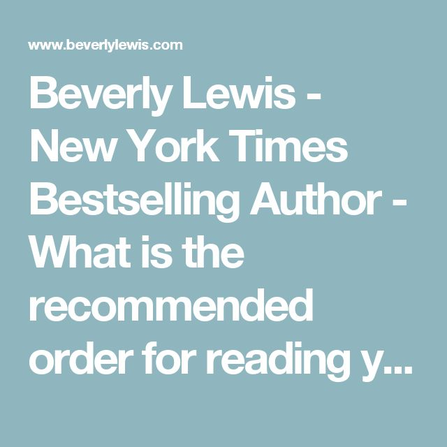 Beverly Lewis - New York Times Bestselling Author - What is the recommended order for reading your books?