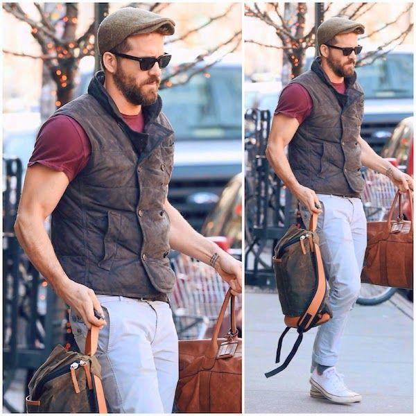 Ryan Reynolds in Brunello Cucinelli - New York Street Style http://www.whats-he-wearing.com/2014/12/ryan-reynolds-wears-brunello-cucinelli-suede-double-breasted-vest-new-york-style.html?spref=tw
