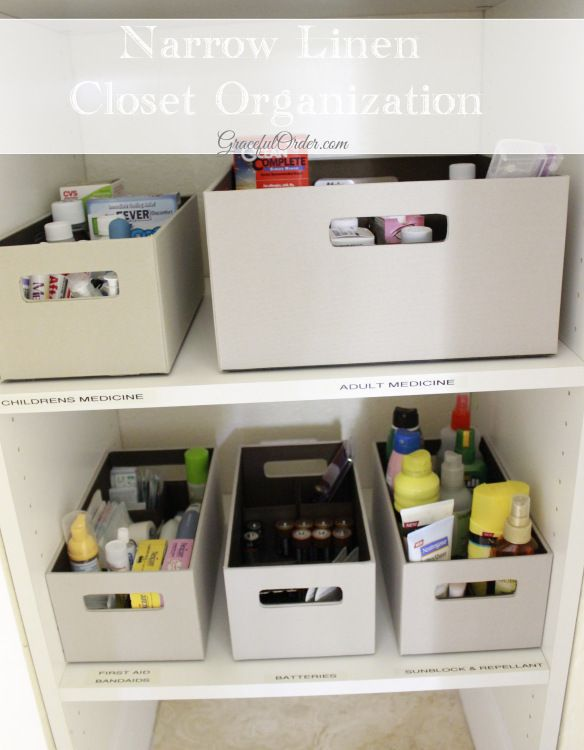 Use Long And Narrow Containers To Organize A Deep Narrow Closet For Blankets Or Sheets One