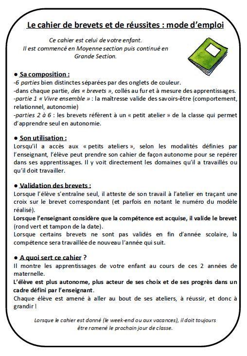 cahier de brevet_page explicative pour les parents | Maternelle ...
