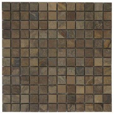 Mozaïek tegel leisteen 30x30 cm | Kleur: bruin | Geschikt voor badkamer, toilet, douche, keuken, woonkamer, slaapkamer, hal | Topmozaïek24