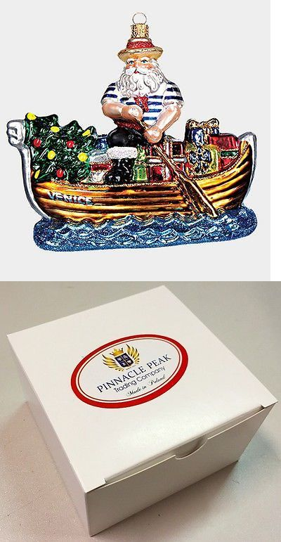 Christmas Decorations: Venice Italy Gondolier Santa Polish Mouth Blown Glass Christmas Ornament BUY IT NOW ONLY: $53.98