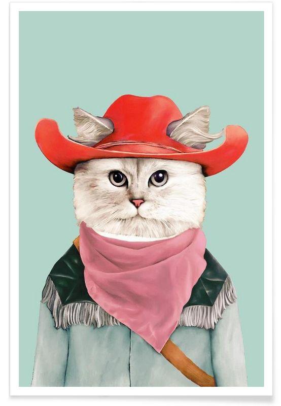 Rodeo Cat - Animal Crew - Premium poster