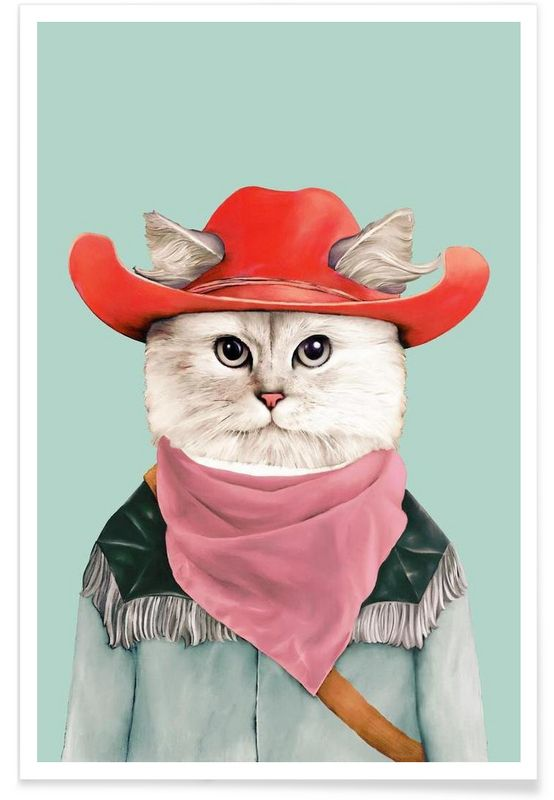 Rodeo Cat - Animal Crew - Premium poster