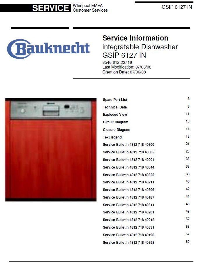 Bauknecht Gsip 6127 In Dishwasher Service Manual Technicians Guide Dishwasher Service Service Technician