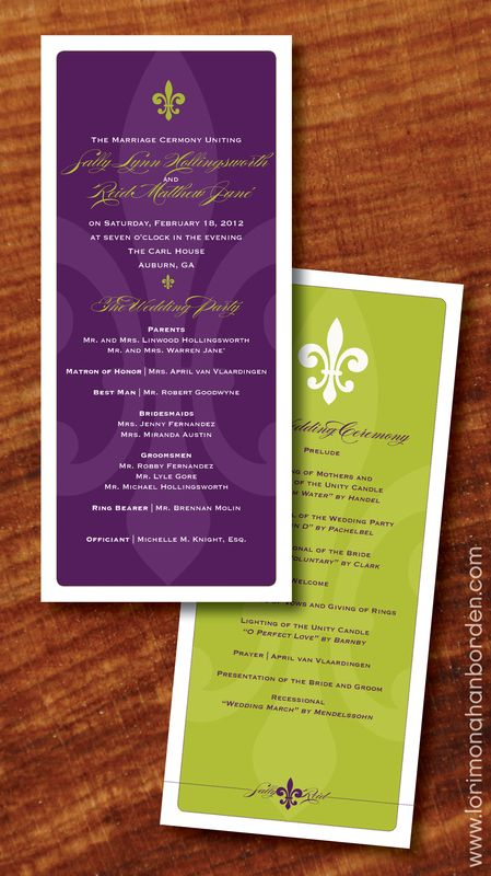 New Orleans Wedding Programs  Prom Colors