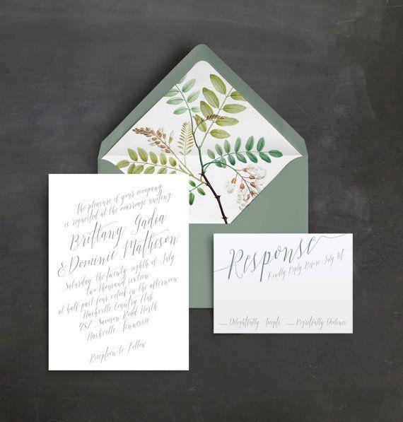 Romantic Botanical Wedding Invitation Suite | Organic Wedding Invitation | Outdoor Wedding | Modern Wedding Floral Liner | Handwritten Font