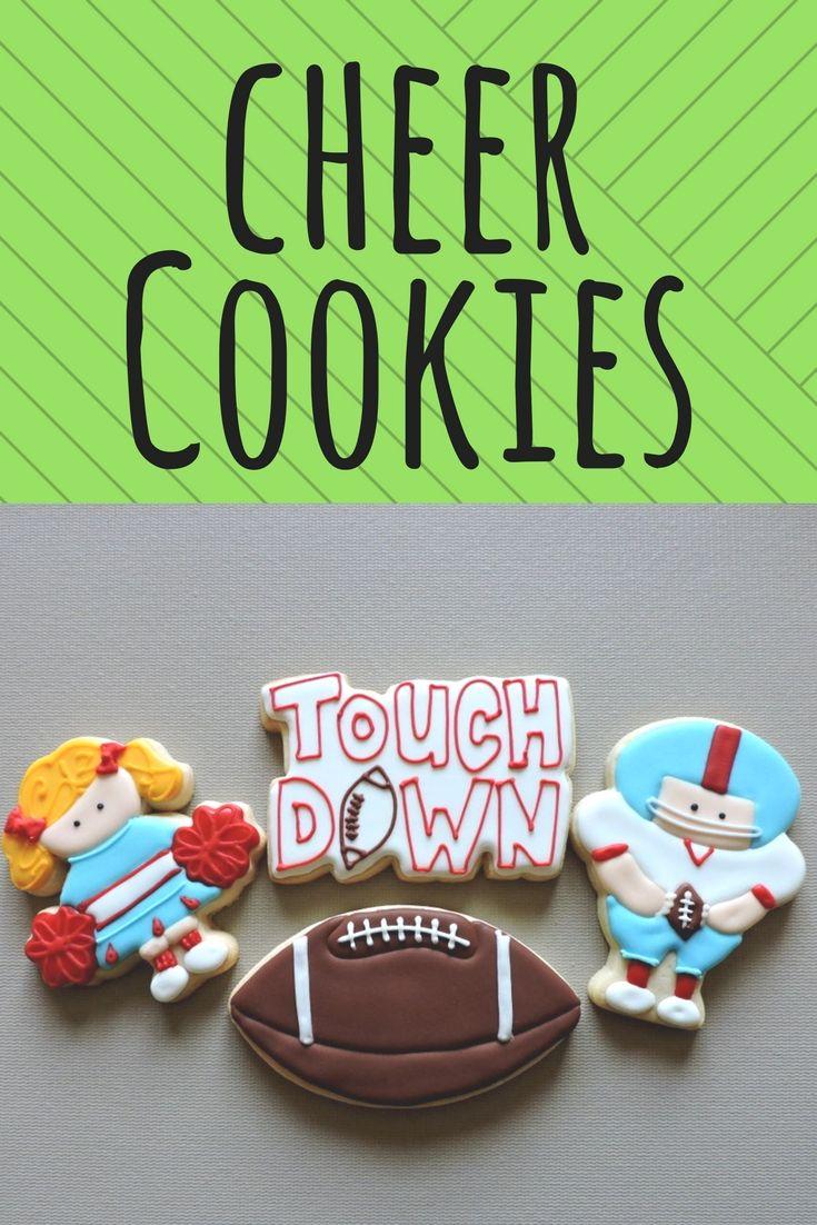 Cheerleader and football cookies. Cheerleading treats. Cheer gifts, cheer party.