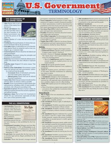 """U.S. Government Terminology Laminated Reference Guide Want to find out what the Federalist Papers were? Not sure what """"ex post facto"""" means? Wonder no more—these and other terms pertaining to the U.S."""