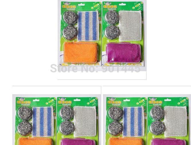 1 pack губкой блюдо полотенца проволоки мяч щетка для очистки Value Pack для мытья Parure (2014081)