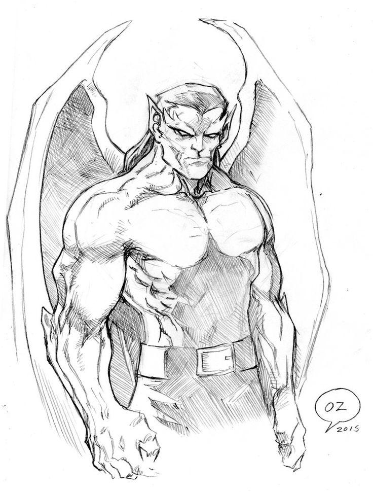 Goliath (Gargoyles) sketch Pencils by Omar Zaldivar Artwork Lapices por Omar…