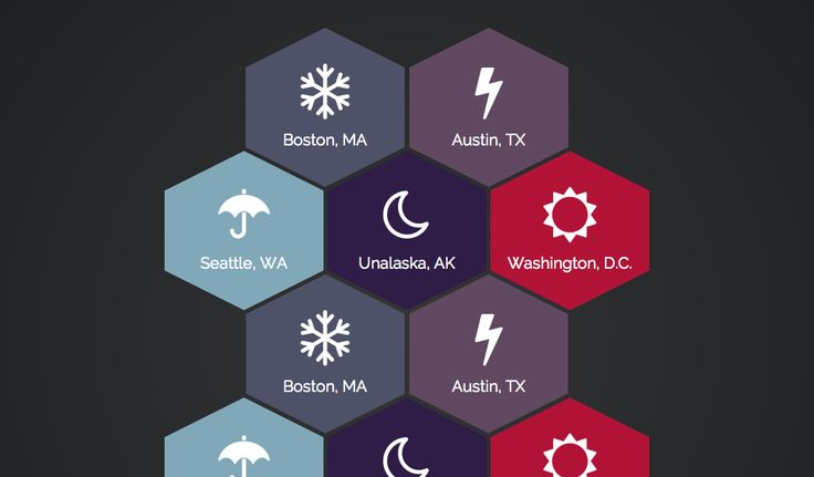 Original inspiration for this is from [Dribbble](https://dribbble.com/shots/895985-First-Rebound-Weather-Widget). I really liked the hexagon look for w...