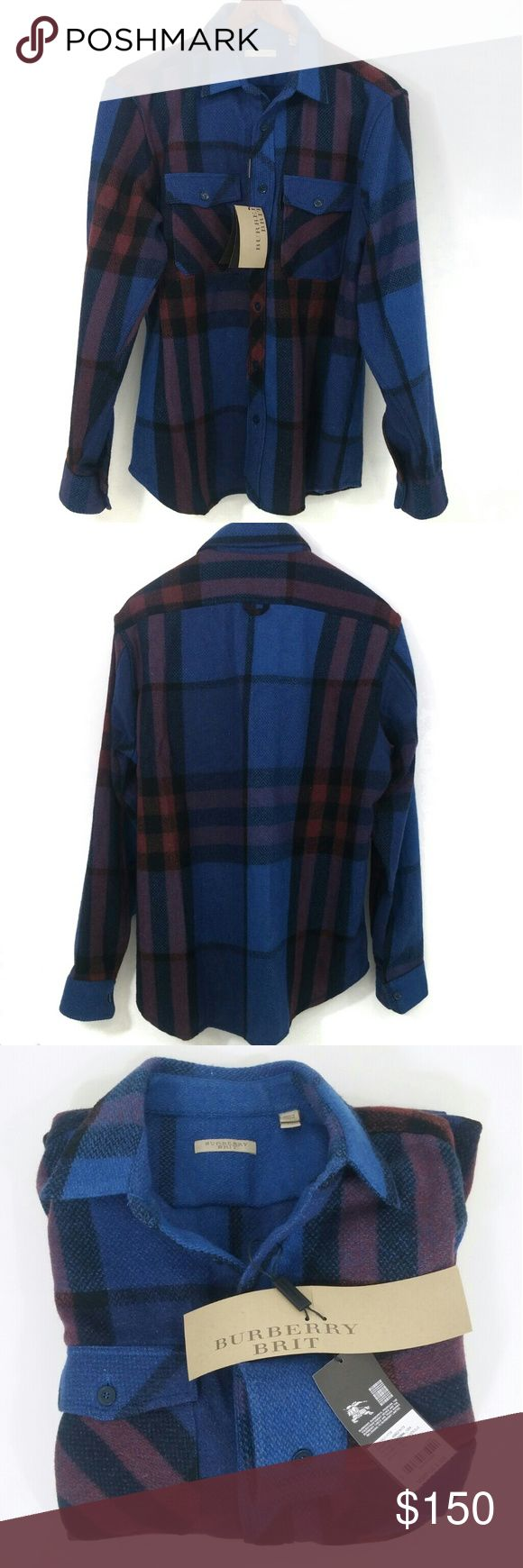 Burberry Brit Men's Plaid Wool Shirt NWT XL Burberry Brit men's plaid shirt size XL, in bright Windsor blue, black, and rust (when blended with the blue in the plaid appears burgundy). Brand new with tags still attached. Retail price is $325. Two front pockets. 75% virgin wool and 25% nylon. Spare button in plastic packet. Please note that XL size is not cut as generously as many US-made shirts. From the top of the collar to the back bottom hem at middle is 32 inches; from middle of neck to…
