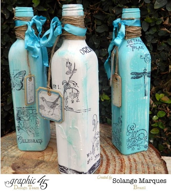 Solange Marques: Altered Bottles and Teapots- Graphic 45 stamps and chipboards tags.