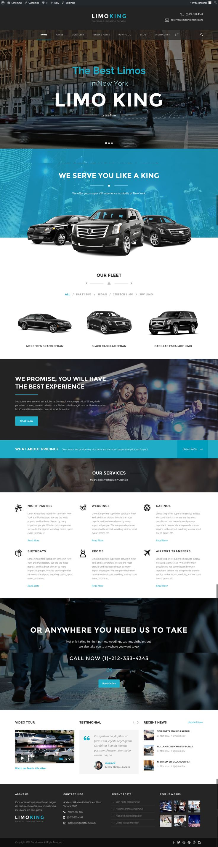 Limo King is a responsive WordPress theme for Limousine, Limo service, Car hire company, Bus, Coach, Taxi, Airport transfer service.. This theme comes with well designed limo fleet layout, flee...