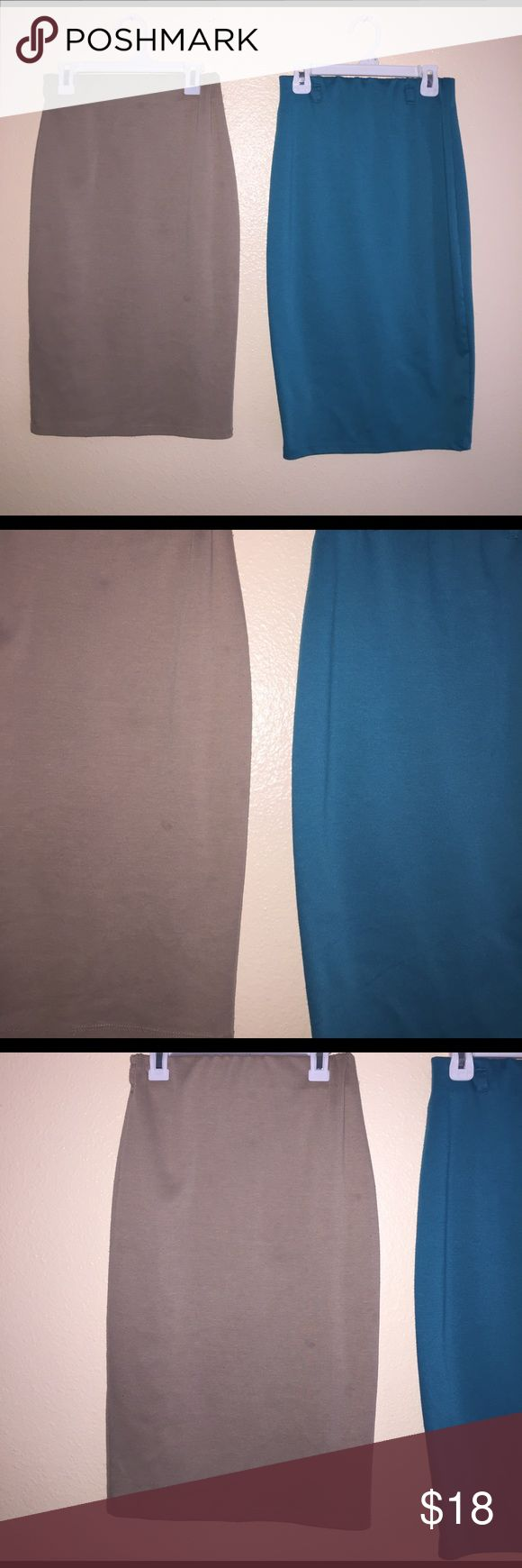 2 pencil skirts Stretchy Pencil skirt bundle. Left is tan, right is blue. Has had a lot of use, and has peeling. The blue one has a tiny hole in the front Skirts Pencil