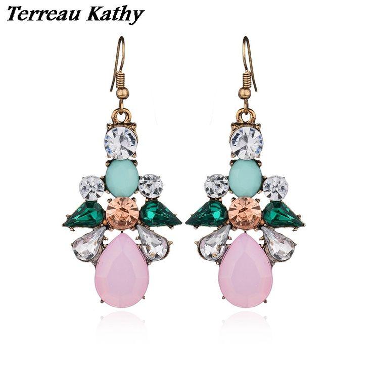 Terreau Kathy Bohemia Ethnic Earrings For Girls Pending Geometric Crystal Drop Earrings Women Brincos BKE629