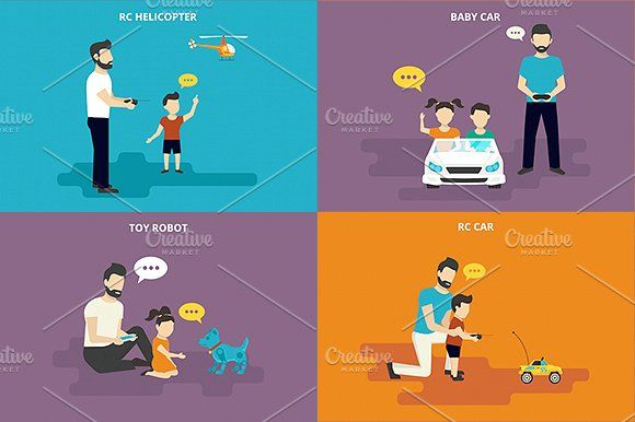 ilustraciones planas familiares conjunto # 8 - Ilustraciones