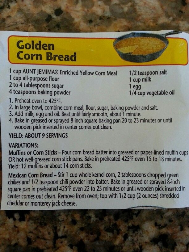 Aunt Jemima corn bread recipe  I made a double batch of these muffins last night and all I can say is OMG!  Somebody better take them away before I eat them all!  SO YUMMY!!!!!!