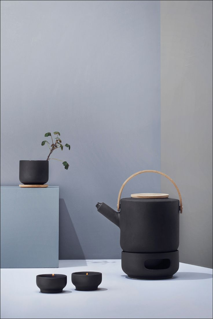 Theo series from Menu includes a coffee maker, teapot, teapot warmer and mugs.