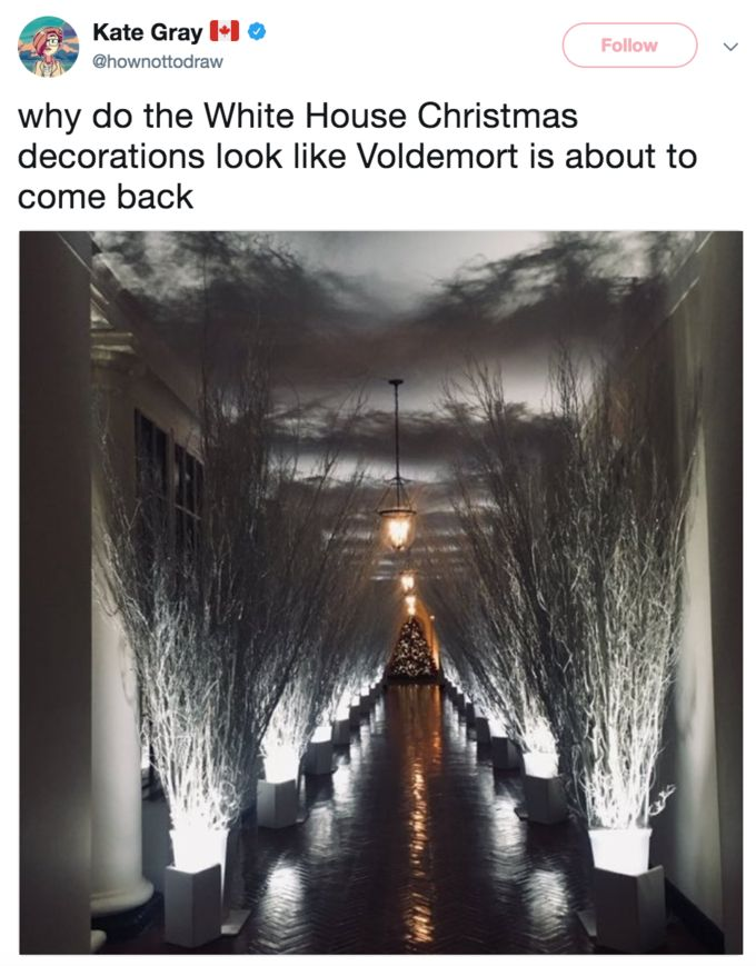 Melania Trump's Christmas Decorations | Know Your Meme  Melania Trump's Christmas Decorations refers to an image of a hallway in the White House as decorated by Melania Trump for the Christmas season that many joked about as being bleak and creepy as opposed to the warm and cheery decorations one might expect for the holiday season.  Read more at KnowYourMeme.com.