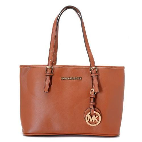 Best Michael Kors Jet Set Saffiano Travel Medium Brown Totes Popular In The World