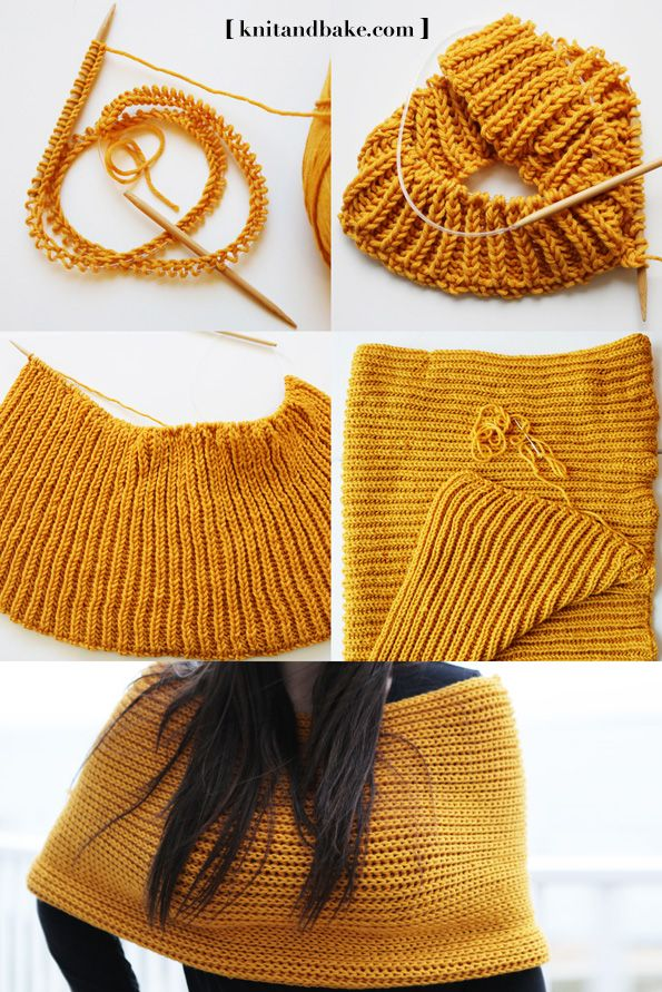 How to knit a shrug. How to knit a cowl. Cowl Sweater Shrug - easy, free knitting pattern from Knitandbake.com, using the brioche stitch.