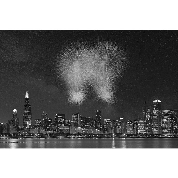 Fireworks Chicago Black & White Wall Graphic
