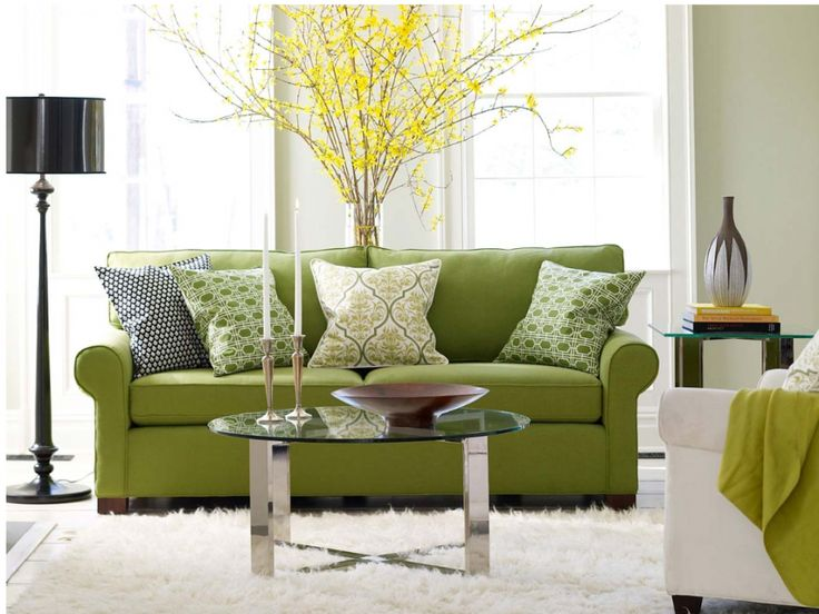 Fascinating of the bright green for large living room theme