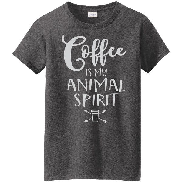 Women's L.A. Imprints Coffee Themed Ladies TeesCoffee Is My Animal... ($15) ❤ liked on Polyvore featuring tops, t-shirts, grey, tops & tees, cotton t shirts, gray t shirt, cotton tee, embellished tee and dark heather t shirt