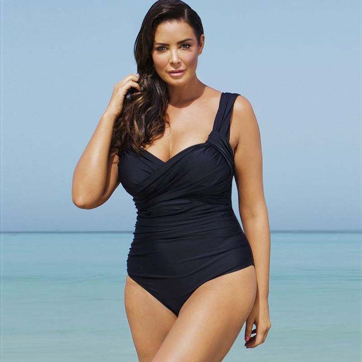 Black Swimming Suit Plus Size full figure Swimwear pleated Push Up Bra
