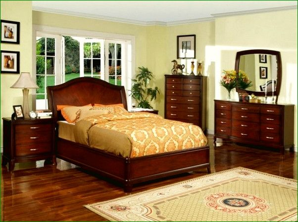 Dark Cherry Wood Bedroom Furniture Bedding Home Improvement