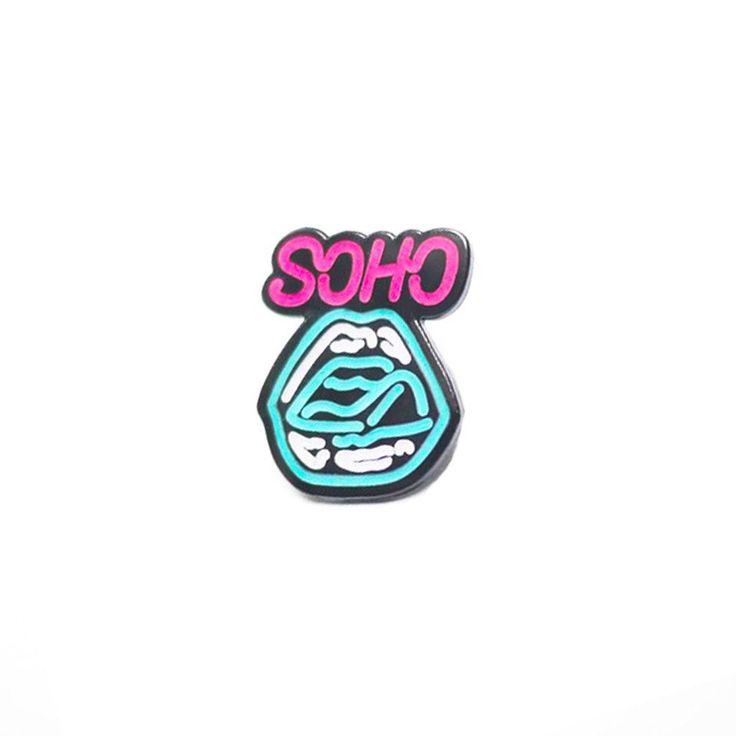 Soho Neon Lips Enamel Pin