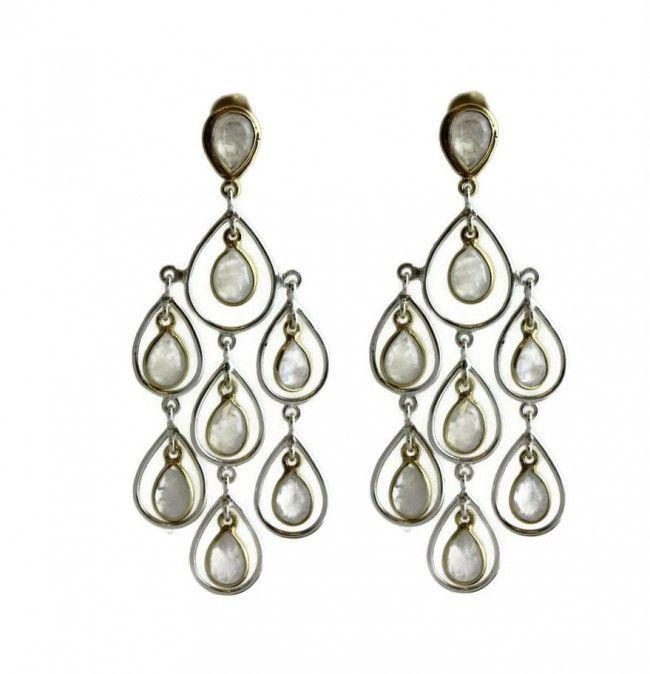 Charlene Moonstone Silver / Vermeil  Earrings