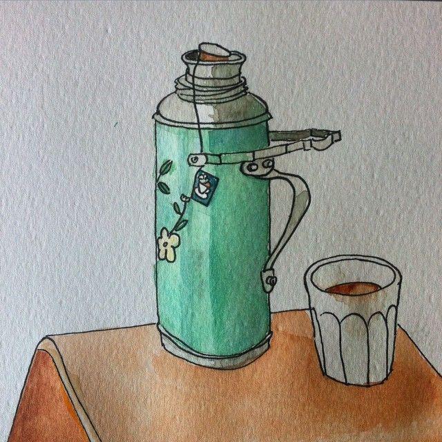 Thee aan de zee #tea #teatime #illustration #illustratie #ink #inkt #aquarel #watercolour #oehoe #sketchbookskool
