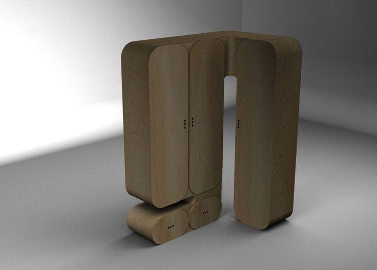 Nábytek do studentského pokoje (klauzurní zkouška 2013) - rohová šatní skříň z ohýbané překližky