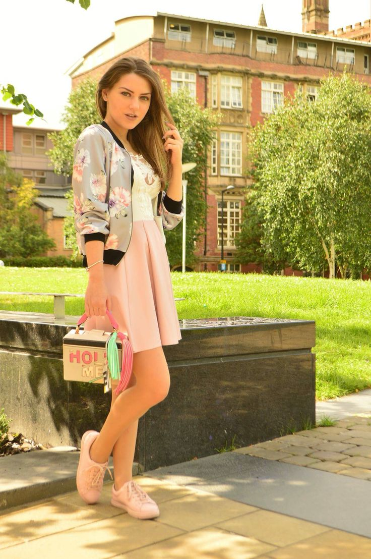 Dusty pink skirt with floral bomber jacket