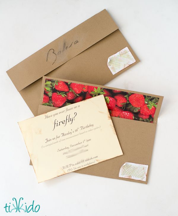 Firefly Invitation Tutorial--Shepherd Book's Box of Strawberries.  The tutorial shows you how to make your own lined envelope out of cardstock and scrapbook paper.