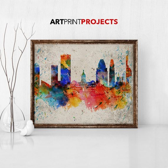 Baltimore Art Print Baltimore Skyline Baltimore Maryland