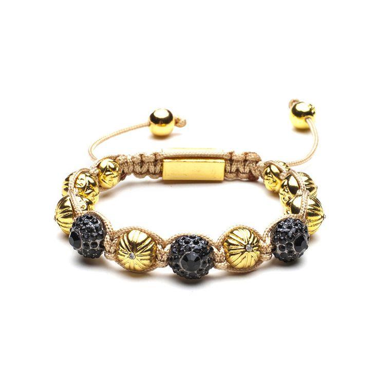 Punk Style Mens Skull Shamballa Bracelets Black Eyes Gold Alloy Beads Rope Chain Cool Mens Bracelets&Bangles Jewelry