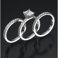 Swarovski Engagement Ring Set (Princess Bride Premium) | 14K White Gold Princess Cut Center Swarovski Crystal of 1.25 CT