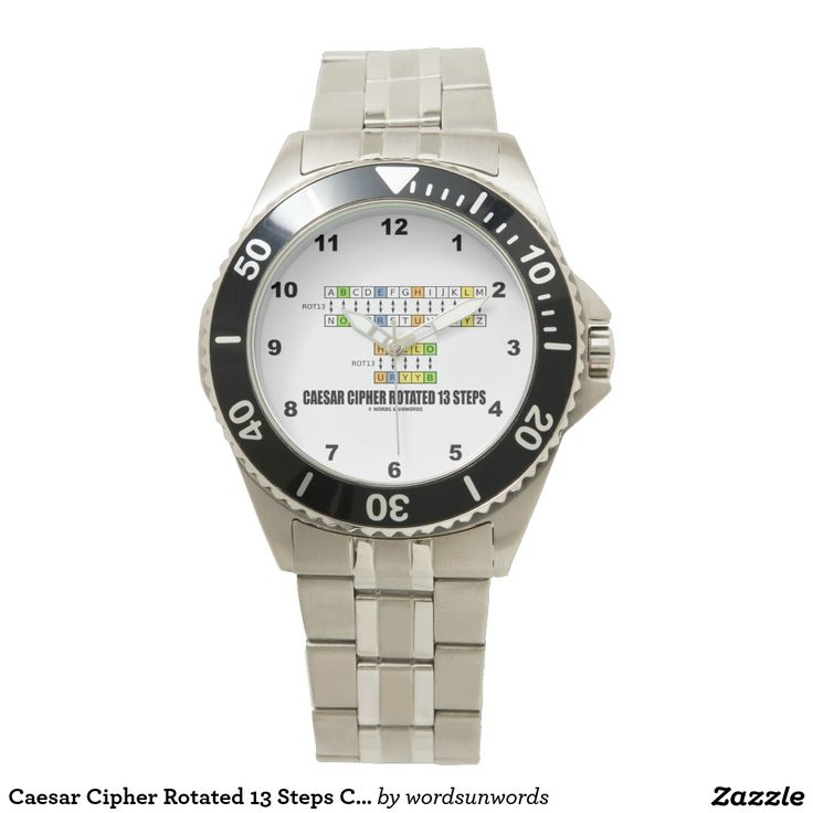 Caesar Cipher Rotated 13 Steps Cryptography #caesarcipher #rotated13steps #geek #humor #crypto #cryptography #cryptographer #cipher #code #programmer #hello #wordsandunwords Here's a watch featuring Caesar Cipher rotated 13 steps.  No need to be a cryptographer to enjoy telling time with this watch!