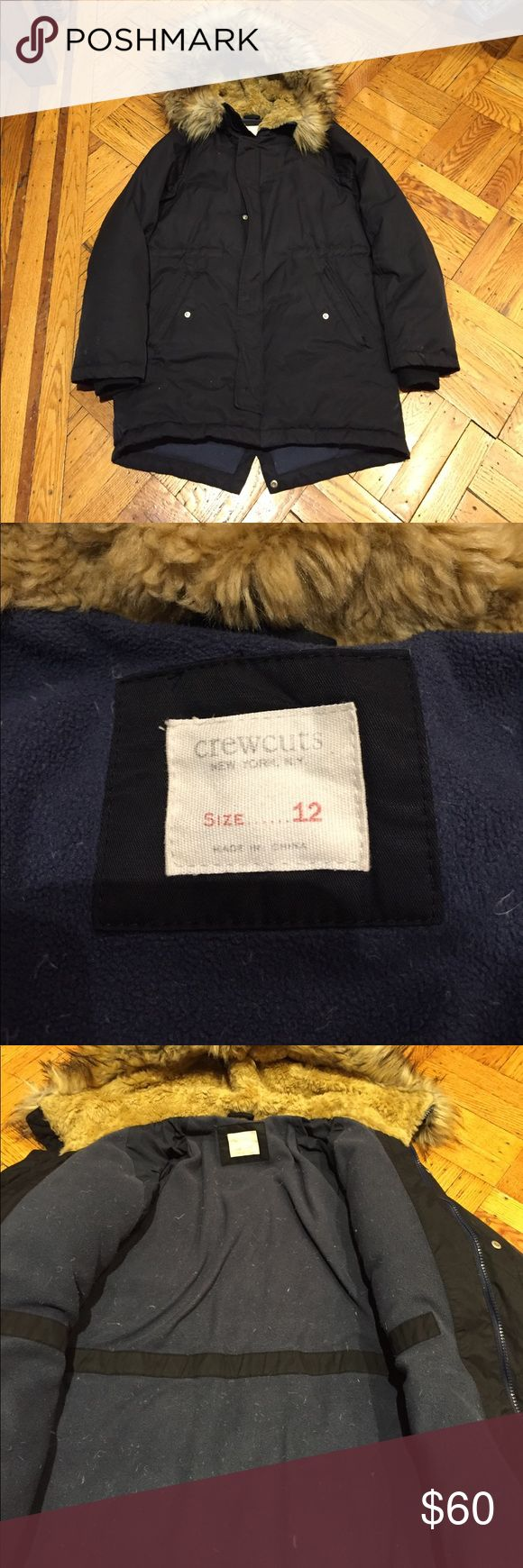 ☃️Crewcuts Winter Puffer Jackets w/ fur lined hood ☃️Crewcuts Winter Puffer Jackets w/ fur lined hood☃️ good condition some lint on inside - super warm size 12 boys in navy J. Crew Jackets & Coats Puffers