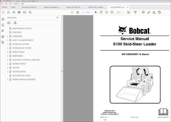 Bobcat S100 Skid Steer Loader Service Repair Workshop Manual Skid Steer Loader Manual Hydraulic Systems