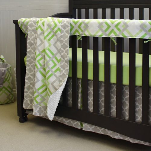 Dress up the crib with this stylish bedding set.  Includes blanket, dust ruffle, sheet and rail protector