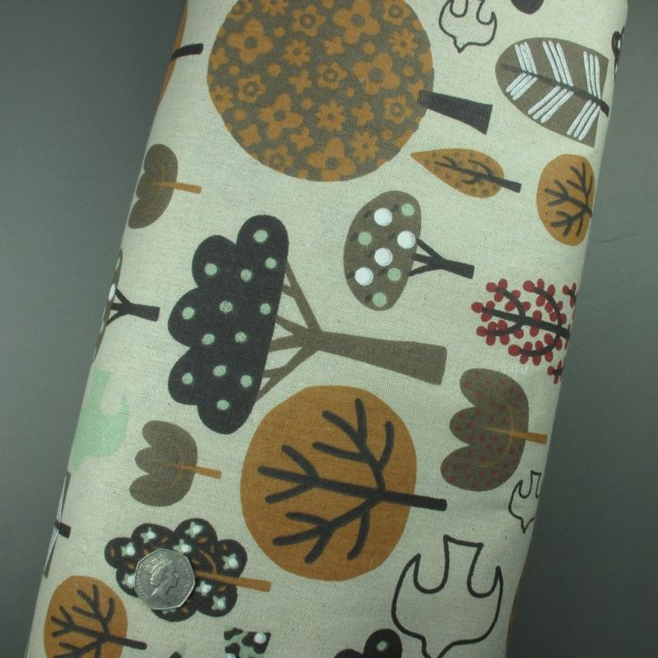100% Cotton Linen Look Funky Trees Print Fabric - Sold per metre