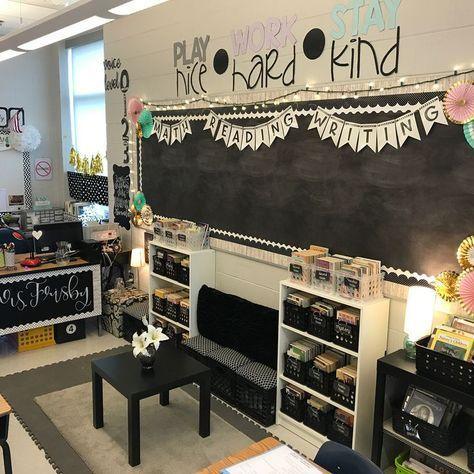 frisbyin4th black, white, and pastel classroom. #classroomdecor #organizedclassroom