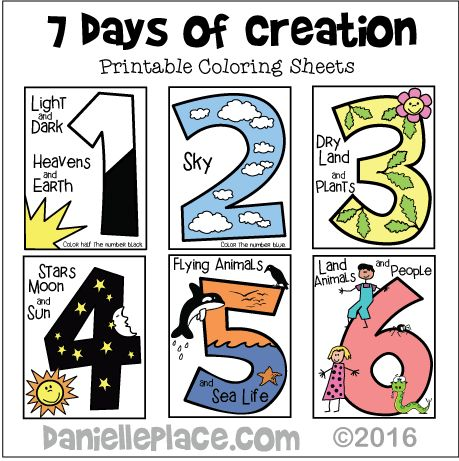 Seven Days of Creation Early Childhood Coloring Sheet for Creation Bible Lesson