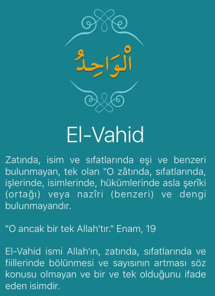 """Zatında, isim ve sıfatlarında eşi ve benzeri bulunmayan, tek olan """"O zâtında, sıfatlarında, işlerinde, isimlerinde, hükümlerinde asla şerîki (ortağı) veya nazîri (benzeri) ve dengi bulunmayandır.   """"O ancak bir tek Allah'tır."""" Enam, 19   El-Vahid ismi Allah'ın, zatında, sıfatlarında ve fiillerinde bölünmesi ve sayısının artması söz konusu olmayan ve bir ve tek olduğunu ifade eden isimdir."""