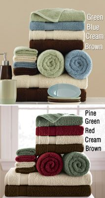 Solid Color Bath Towel Set - Every color only $19.99 Each! Blue, Brown, Cream, Green, Pine, and Red.  Great for a Wedding Shower gift!